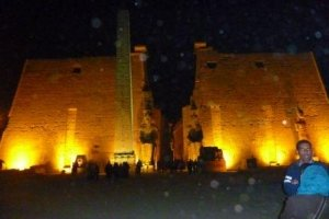 Two, huge Ramses II statues flank the Temple Entrance